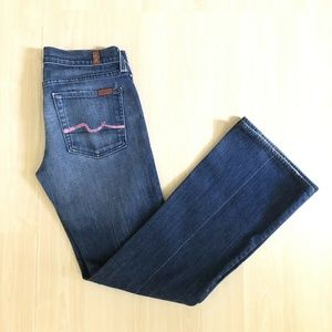 Seven 7 For All Mankind Low Rise Pink Flare Jeans